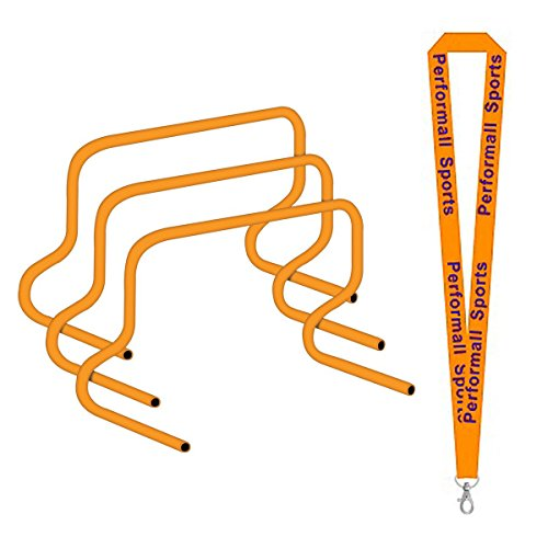 Champion Sports Speed Hurdles 12 inch Orange Bundle with 1 Performall Lanyard PH12-1P by Champion Sports