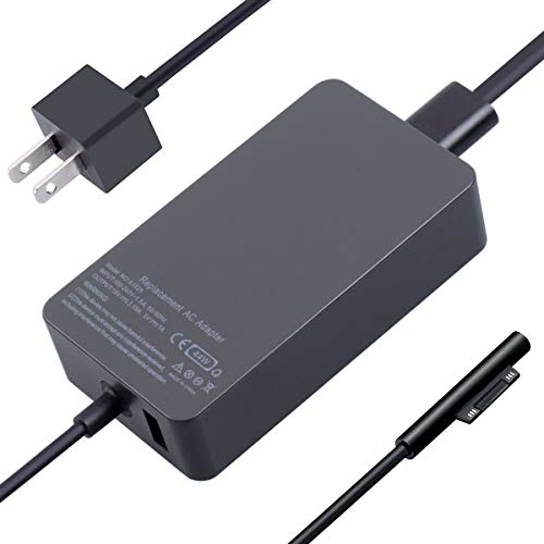 Surface Charger, 44W 15V 2.58A Power Supply AC Adapter Charger for Microsoft Surface Pro 3/4/5/6/7, Surface Laptop 3/2/1, Surface Go/Book, with 6ft Power Cord