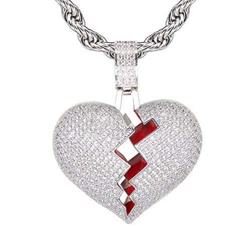 (TSANLY Silver Broken Heart Pendant Necklace Hip Hop CZ Fully Iced Out Bling CZ Diamond 24K White Gold Plated with 24