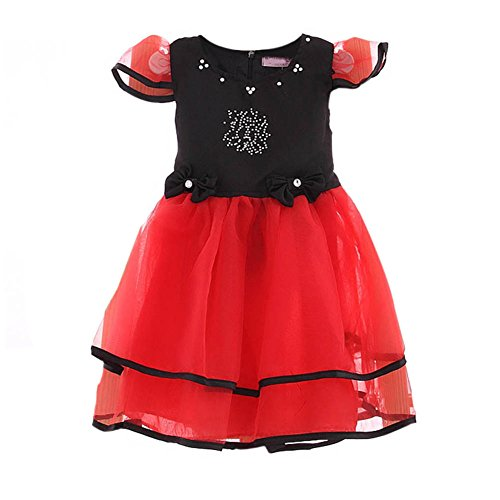 Summer Sweet Baby Girls Red Short Sleeves Ball Gown Bubble Bowknot Tutu Dress