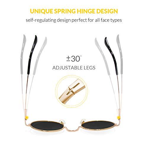 metal Vintage Lente mujeres Circle redondas de lente con Finomo y Marco marco Blue Gafas hombres de retro Mirrored Gold UV400 para sol vznn8Ha