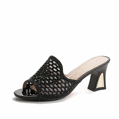 Sandali pantofole Da selvatici Golden Alla Donna tacchi medio fiori spessi Bocche cool Moda Scarpe pesce di Femmina AJUNR tacchi Ax48Hwd8