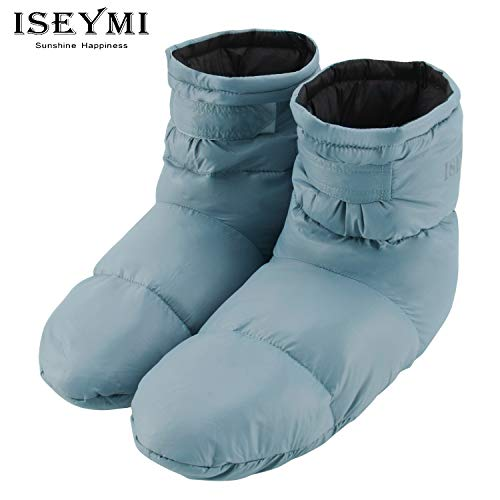 Down Slippers Warm Socks Lightweight- for Women,Men,Kids Camping Hiking Sleep Socks Indoor Outdoor Packable Cozy Socks Include 100% Feather,Keep Warm 24-Hour Blue