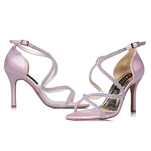 Rhinestones Strappy Stiletto Wedding Party Pink Heel Dress Dance Sandals ERIJUNOR High Shoes Women's Bridal 0YHTqT