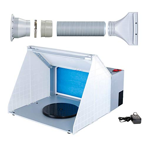 (Master Airbrush Brand Lighted Portable Hobby Airbrush Spray Booth with LED Lighting for Painting All Art, Cake, Craft, Hobby, Nails, T-Shirts & More. Includes 6 Foot Exhaust Extension Hose)