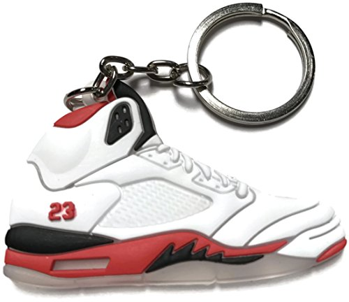 WetheFounders Air Jordan Retro 5 White Red Black Shoe Keychain Collectable from Wethefounders