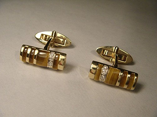 Handsome 14K Yellow Gold Tiger's Eye Diamond Mens Cufflinks