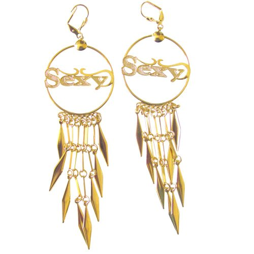 14k Gold Overlay Chandelier Earring Large Hoop with Word Sexy Dangle Accents - 14k Gold Overlay Accent