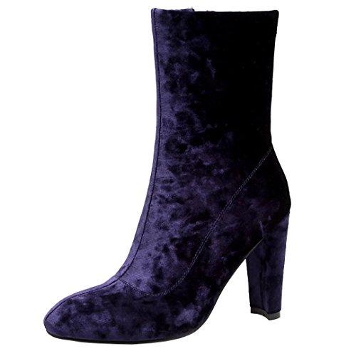 AIYOUMEI Damen Wildleder High Heels Winter Stiefeletten mit 10cm Absatz Modern Warm Stiefel Schuhe UKT19U5