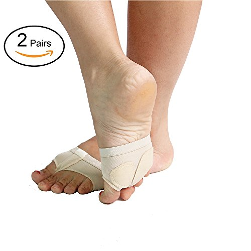 2 Pairs Women's Ballet Belly Dance Half Sole Paws Pad Foot Thong Dance Paw Shoes forefoot Pads (L, White)