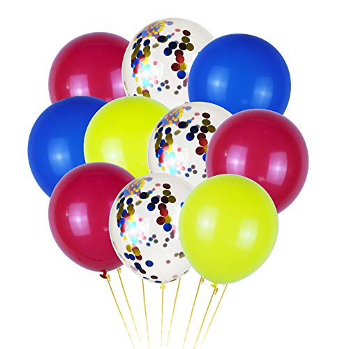 40 Pcs Superhero Balloons Party Supplies, 12 Latex Red Blue Yellow Superhero Color Confetti Balloons for Kids Birthday Party Supplies Baby Shower Superhero Theme Party Decorations