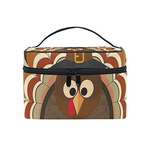 Cosmetic Bag Turkey In Pilgrim Hat Autumn Leaves Womens Makeup Organizer Girls Toiletry Case Box Lazy Zip Bag -