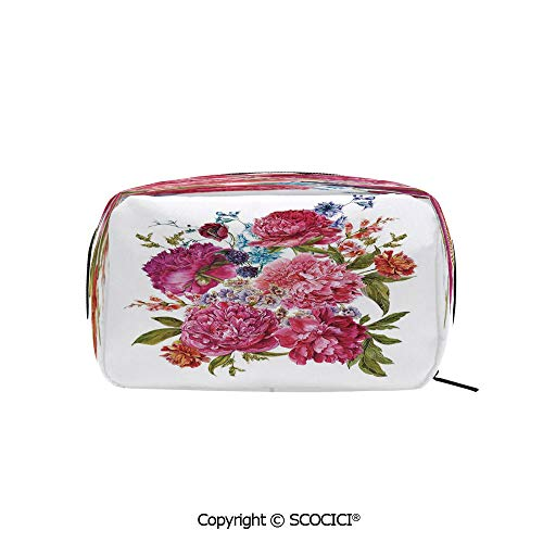 004 Blackberry - Rectangle Portable makeup organizer Cosmetic Bags Gentle Summer Flora Hyacinths Blackberry and Peonies Victorian Vegetation Decorative Printed Storage Bags for Women Girls