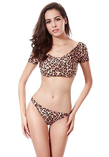 Botobkn Women 's Fashion Rough leopard Print top y tanga bikini Traje de ba?o