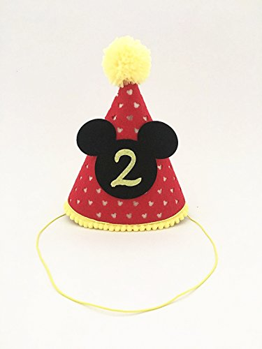 Mickey Party Hat| First Birthday Outfit Boy Mickey Mouse Party Hat Cake Smash Outfit | 1st Birthday Outfit | Party Hat | Cake Smash Cake Photoshoot Photoprop (Second Birthday Hat, Elastic Strap)