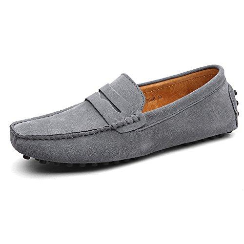 Shenn Hombres Minimalismo Casual Zapatos de Conducción Gamuza Mocasines de Cuero 2088 Gris
