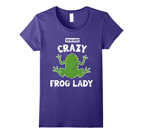 Womens Frog T-Shirt. Fun Crazy Frog Lady Tee XL ()