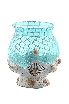 "Diamond Star Glass 7"" Dx7.5 Blue Hurricane Candleholder"