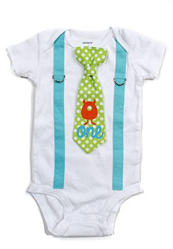 Cuddle Sleep Dream Baby Boy 1st Birthday Outfit Cake Smash Bodysuit with Tie and Suspenders Birthday Shirt (24 month, Monster) ()