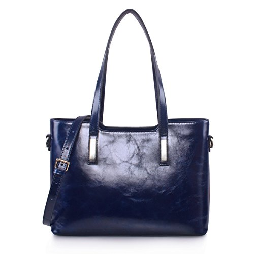 Yafeige Women's Handbags Vintage Genuine Leather Shoulder Bags Tote Cross Body Bags Purse for Ladies(Blue-1) by Yafeige