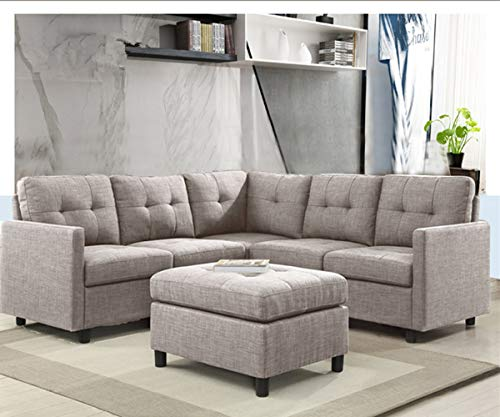 (6-Piece L-Shape Modular Sectional Sofa Assemble, Left & Right Arm Chair, Armless Chair and Ottoman Storage -)