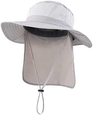 Home Prefer Outdoor UPF50+ Mesh Sun Hat Wide Brim Fishing Hat with Neck Flap 3931a13e9b5