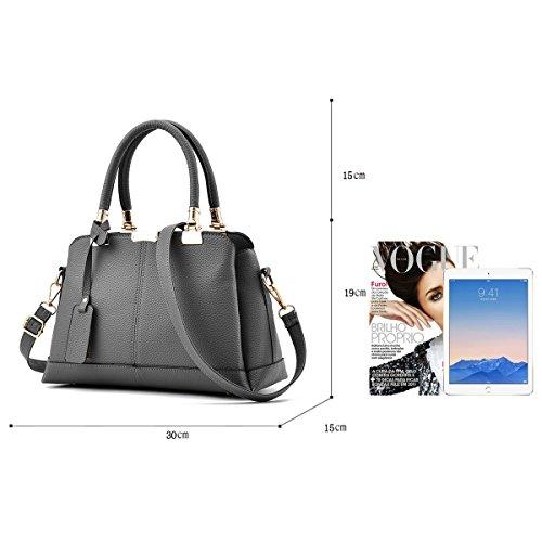 Bag Women Bag Shoulder Dark Handbags Layers of Fashion Three Wallet Handbag Soft gray Handbag Elegant Tisdaini PU T7qBB