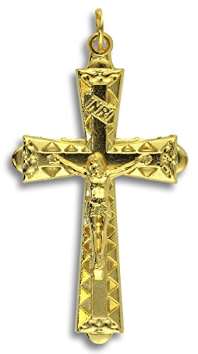 - Gifts Catholic, Inc. Lot of 5! Gold Plated Flared Crucifix 1 7/8 in Rosary Cross Crucifix Pendant - Made in Italy