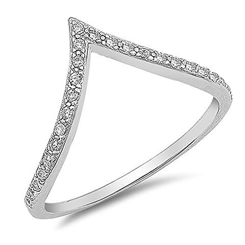 White CZ High Point V Shape Chevron Ring New 925 Sterling Silver Band Size 9 (RNG17708-9) (Chevron Cz Ring)