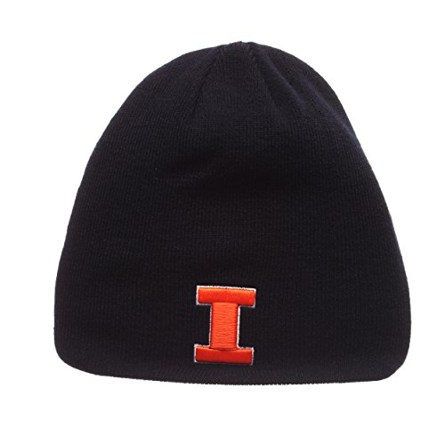 (ZHATS Illinois Fighting Illini Navy Blue Edge Skull Cap - NCAA Cuffless Winter Knit Beanie Toque Hat)