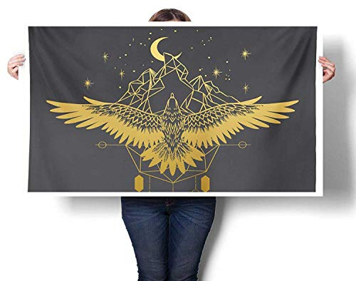 - Sunset glow Contemporary Wall Art Soaring Eagle Starry Night Over Mountains Tattoo Style Canvas Wall Art for Boys Room Baby Nursery Wall Decor Kids Room Boys Gift 24