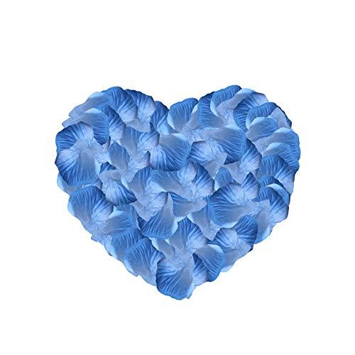 Neo LOONS 2000 Pcs Artificial Silk Rose Petals Decoration Wedding Party Color Blue & Light Blue