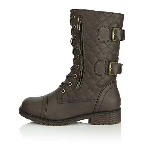 Credit Women's Boots Up Card Quilted Military Exclusive Buckle Pocket Pu Mid Knee High Combat Brown PU wxSxzB