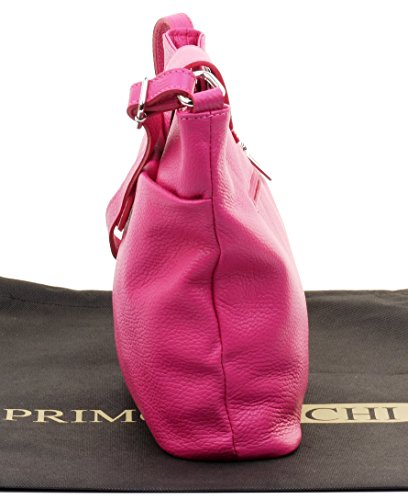 Classic Adjustable Primo Shoulder Bag Pink Textured Crossbody Italian Leather Sacchi® Ladies Strap Fully wOqnXvO