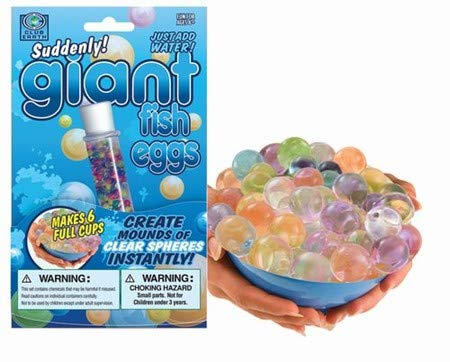 - Play Visions - Water Beads - Suddenly Giant Fish Sensory Eggs - Create Mounds Of Clear Spheres INSTANTLY - Makes 6 Full Cups Of Water Marbles