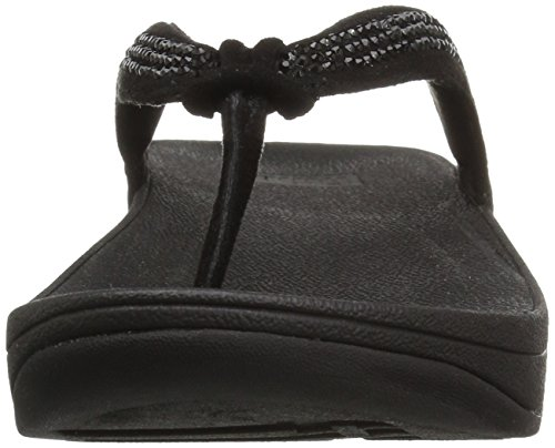 Chancletas Negro Para FitFlop SWIRL CRYSTAL mujer 8qwq17d