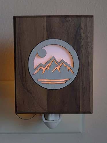 amazon com  rustic night light mountain wood decor cabin