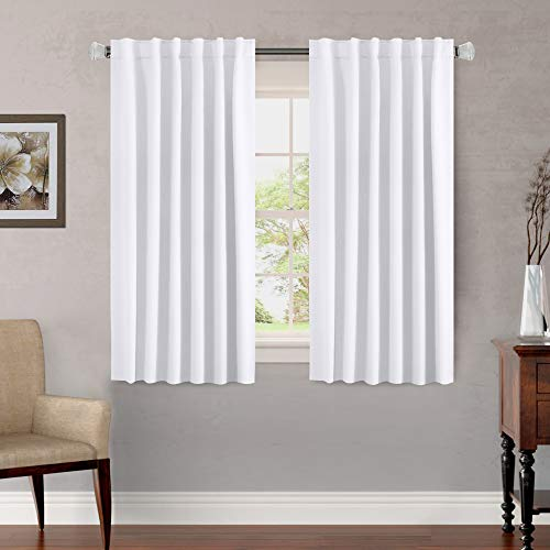 H.VERSAILTEX Thermal Insulated White Curtains Draperies, Window Treatment Back Tab/Rod Pocket Kitchen Drapes for Doors, Room Darkening Curtains/Drapes for Living Room (2 Panels, 52 by 54 - Pair Thermal Polyester Insulated Curtains