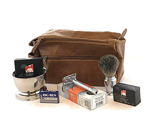 Dopp Kit - #23001 Double Edge Safety Razor, Chrome Shaving Brush, Bowl, Soap comes with GBS Alum Block + Leather Toiletry Bag ()