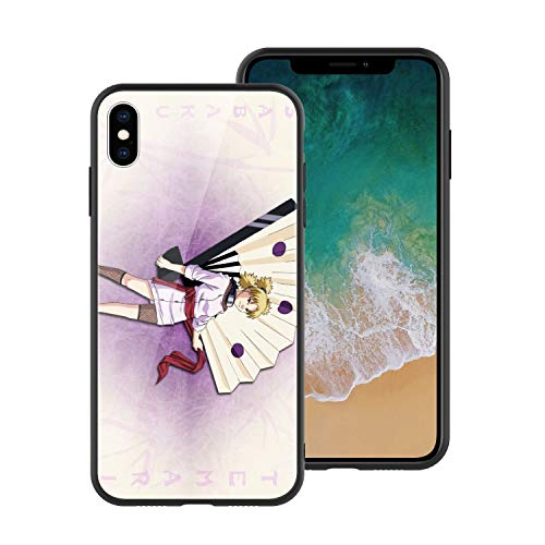 for iPhoneXs Max, Naruto 611 Design Tempered Glass Phone Case, Anti-Scratch Soft Silicone Bumper Ultra-Thin iPhoneXs Max Cover for Teens and Adults - Temari - 2 ()