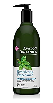 Avalon Organics Peppermint Glycerin Hand Soap and Hand & Body Lotion with Aloe Vera, Calendula and Chamomile, 12 fl. oz. each