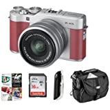 Fujifilm X-A5 24.2MP Mirrorless Digital Camera with XC 15-45mm f/3.5-5.6 OIS PZ Lens, PInk - Budle With 16GB SDHC Card, Camera Case, Card Reader, PC Software Package