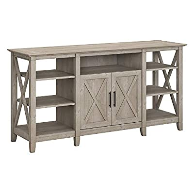 Bush Furniture Key West Tall Stand for 65 Inch TV, Washed Gray - Cabinet doors conceal one adjustable shelf to accommodate your collection of movies, video games and more Center cubby with cable management cut out provides a convenient place for a DVD player or gaming console Each side of the media stand features one adjustable shelf and two fixed shelves for flexible storage and display - tv-stands, living-room-furniture, living-room - 4162UtbwctL. SS400  -
