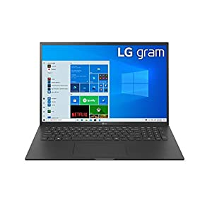 LG Gram Thin & Light Laptop – 17″ IPS WQXGA (2560 x 1600), 11th Gen Intel Core i7 1165G7 CPU, Intel Iris Xe Graphics, 16GB RAM, 1TB NVMe SSD, 19.5 Hour Battery, – 17Z90P-K.AAB8U1 – Black (2021)