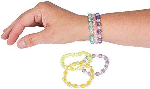 Assorted Plastic Iridescent Bead Bracelets 24 Pcs