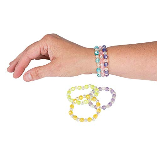 (Assorted Plastic Iridescent Bead Bracelets 24 Pcs)