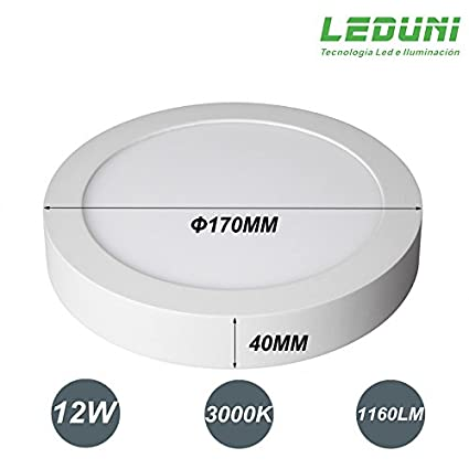 40Hmm Pack 2 Unidades LEDUNI /® Downlight Plaf/ón Superficie LED Redonda 12W 1160LM Color Blanco Neutro 4000K Angulo 120 IP40 OPAL Aluminio 170