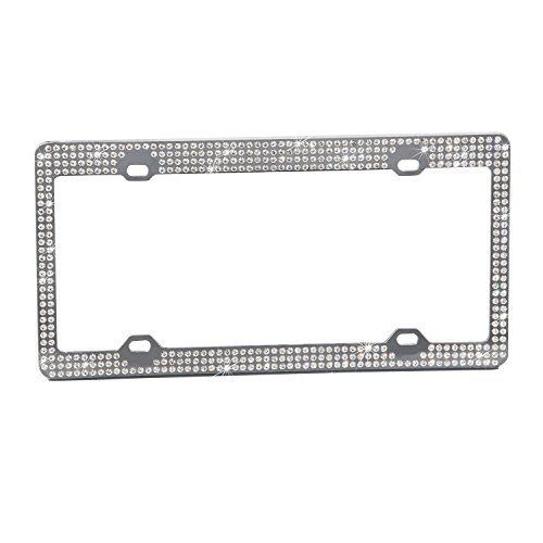 U-Faves Diamante License Plate Frame with Seven-Row Swarovski Rhinestones (White) -  UFLPF001