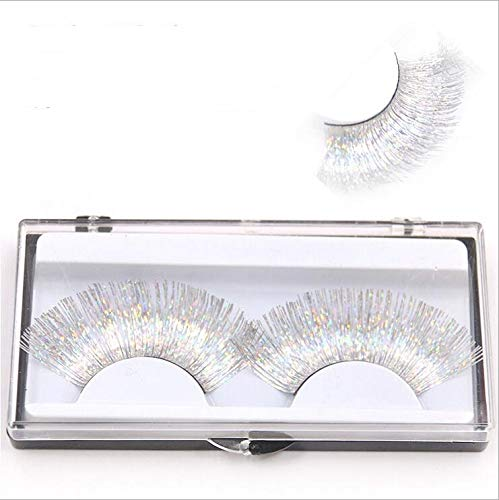 Maxbei 1 Pair Hand made white False Eyelash Eye Makeup Colorful Halloween Costume Stage Party Color Feather Thick Long Fake Eyelashes Fashion Makeup Art Eye Lashes