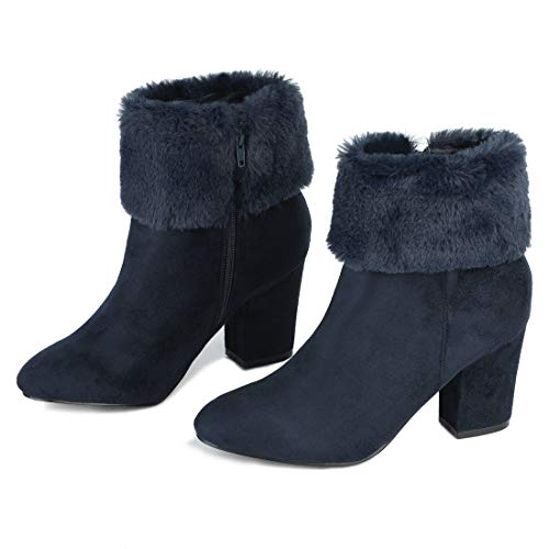 Allegra K Women's Faux Fur Snow Suede Chunky Heel Navy Blue Ankle Boots - 8 M -